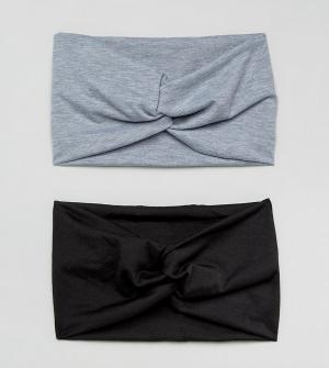 ASOS Комплект из 2 повязок на голову с перекрутом (черный / серый меланж) A. Цвет: мульти