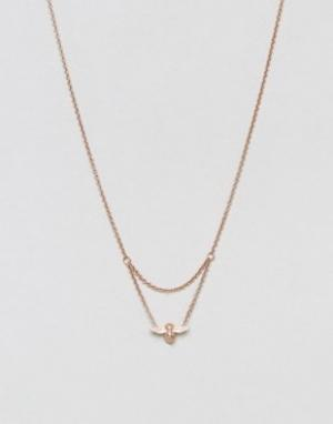 Olivia Burton Золотисто-розовое ожерелье с подвеской-пчелой. Цвет: золотой