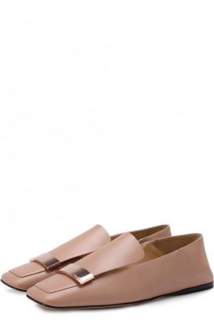 Кожаные слиперы с металлической отделкой Sergio Rossi. Цвет: светло-розовый