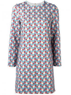 Платье с рисунком из птичек Au Jour Le. Цвет: синий