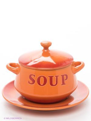 Горшочек для супа 425 мл. Bekker. Цвет: оранжевый