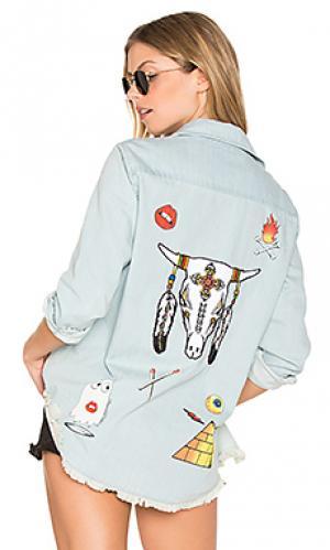 Джинсовая рубашка на пуговицах с длинным рукавом sloane Lauren Moshi. Цвет: черный