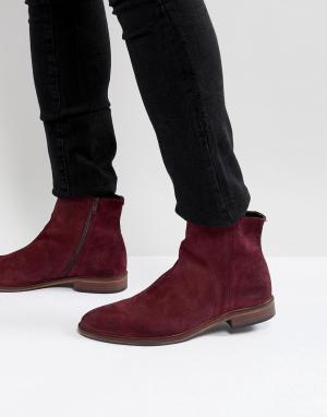 ASOS Бордовые замшевые ботинки челси с натуральной подошвой. Цвет: красный