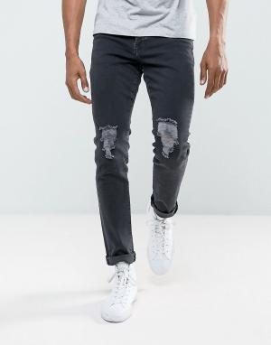 Brooklyn Supply Co. Черные джинсы скинни с рваными коленями Co. Цвет: черный