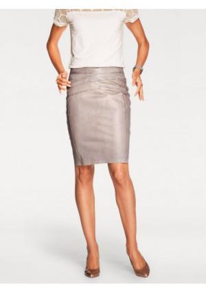 Кожаная юбка PATRIZIA DINI. Цвет: серо-коричневый