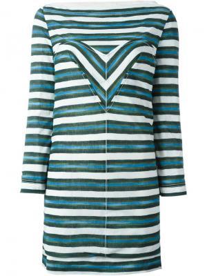 Полосатое платье Louis Vuitton Vintage. Цвет: зелёный