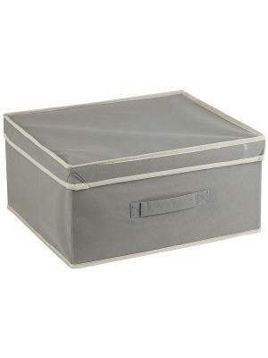 Короб STANDART Grey с крышкой, 46*33*25Н см WHITE FOX. Цвет: серый