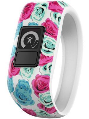 Фитнес-браслет для детей VIVOFIT JR Real Flower GARMIN. Цвет: голубой, розовый, белый