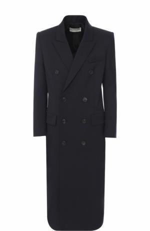Двубортное пальто прямого кроя Balenciaga. Цвет: темно-синий