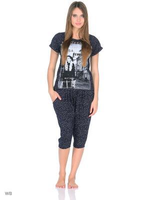 Комплект домашней одежды (футболка, бриджи) HomeLike. Цвет: темно-синий, белый