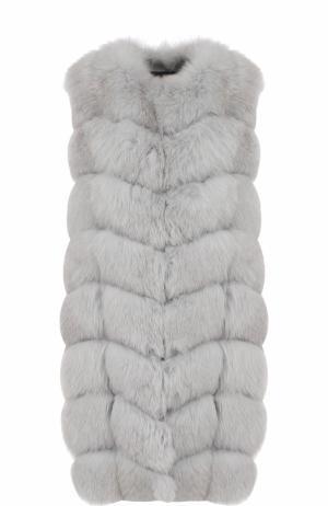 Удлиненный жилет из меха лисы Yves Salomon. Цвет: серо-голубой