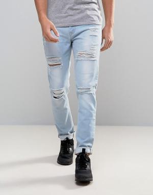 ASOS Голубые рваные джинсы скинни. Цвет: синий
