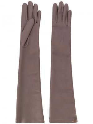 Длинные перчатки Salvatore Ferragamo. Цвет: телесный