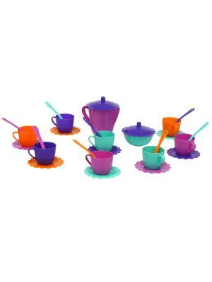 Набор посуды Ромашка 28 эл. в сумке ТИГРЕС. Цвет: синий, голубой, фиолетовый, оранжевый