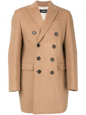 Двубортное пальто Dsquared2. Цвет: телесный