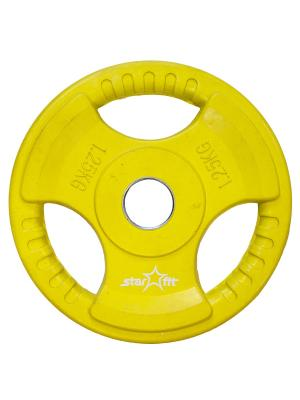 Диск обрезиненный STAR FIT BB-201 1,25 кг, стальная втулка, желтый starfit. Цвет: желтый
