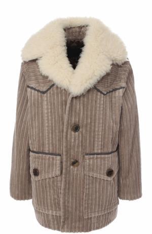 Вельветовая куртка свободного кроя с воротником из овчины Marc Jacobs. Цвет: серо-бежевый