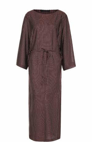 Шелковое платье в полоску с поясом и высокими разрезами The Row. Цвет: бордовый