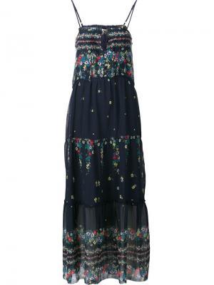 Длинное платье с оборками Sea. Цвет: синий