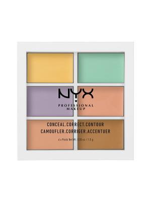 Палетка для коррекции цвета COLOR CORRECTING PALETTE 304 NYX PROFESSIONAL MAKEUP. Цвет: желтый, зеленый, фиолетовый