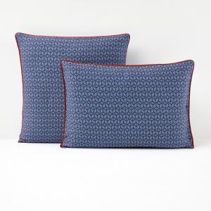 Наволочка из хлопкового сатина, синяя, KEITAKI La Redoute Interieurs. Цвет: синий/ красный
