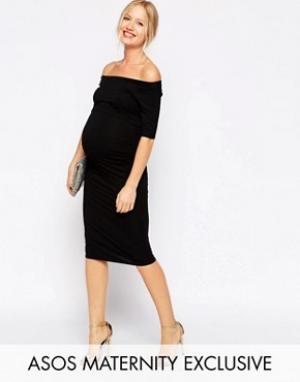 ASOS Maternity Платье с открытыми плечами для беременных. Цвет: черный
