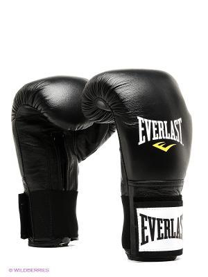 Перчатки тренировочные на липучке 16oz Everlast. Цвет: черный