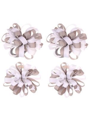 Банты из ленты на резинке серо-белые по парам, набор 4 шт Радужки. Цвет: серый, белый