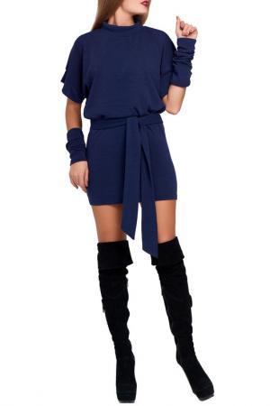 Платье с поясом Majaly. Цвет: темно-синий