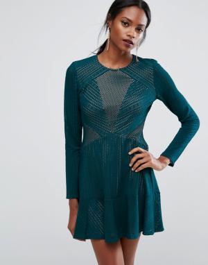 BCBG MaxAzria Платье мини со вставками BCBGMAXAZRIA. Цвет: зеленый