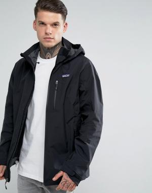 Patagonia Черная непромокаемая куртка с капюшоном Windsweep. Цвет: черный