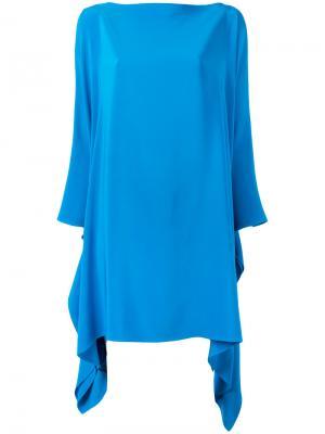 Расклешенное платье с длинными рукавами Gianluca Capannolo. Цвет: синий