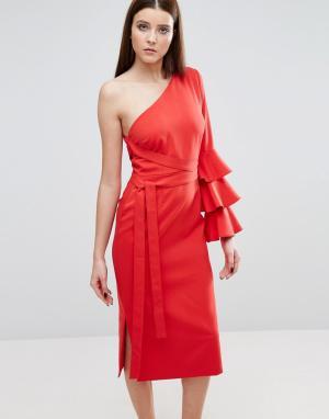 Lavish Alice Платье-футляр на одно плечо с оборками рукаве. Цвет: красный
