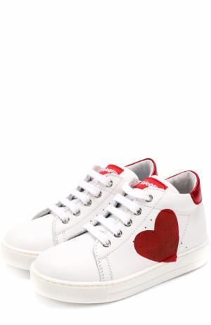 Кожаные кеды на шнуровке с принтом Falcotto. Цвет: белый