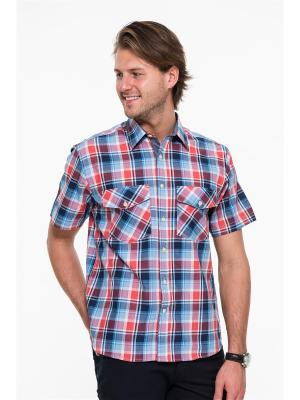 Рубашка Westrenger. Цвет: синий, красный