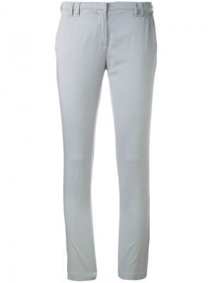Облегающие укороченные брюки Eleventy. Цвет: серый