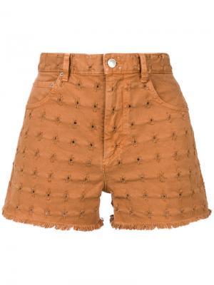Джинсовые шорты с вышивкой Isabel Marant Étoile. Цвет: коричневый