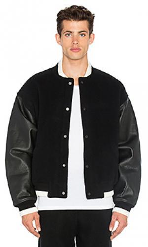Студенческая куртка с кожаным комбо T by Alexander Wang. Цвет: черный