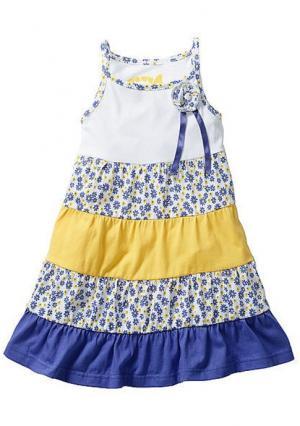 Платье. Цвет: белый/лиловый/желтый с рисунком