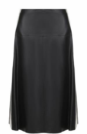 Кожаная юбка-миди Escada Sport. Цвет: черный