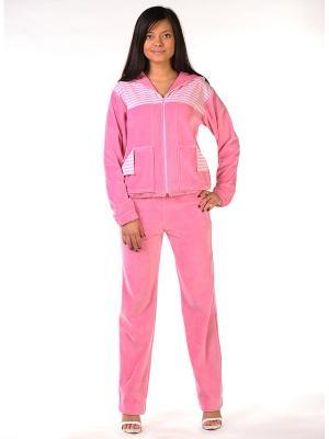 Велюровый костюм Тефия. Цвет: бледно-розовый, розовый, белый