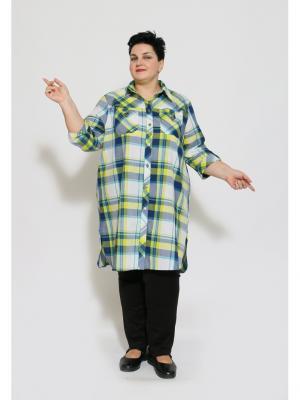 Рубашка EVGENIA STYLE. Цвет: синий, белый, светло-желтый