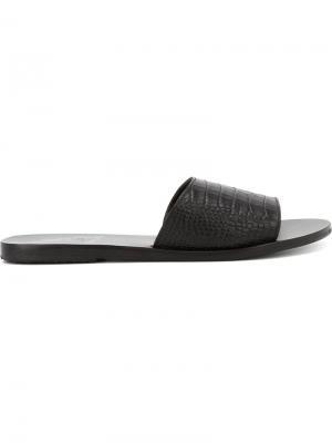 Шлепанцы с эффектом крокодиловой кожи Ancient Greek Sandals. Цвет: чёрный