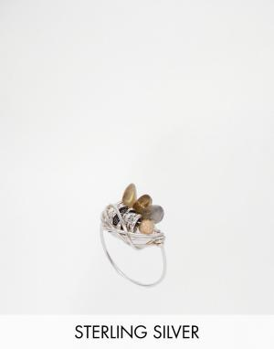 Kat&Bee Кольцо с камнем и черепом Kat & Bee. Цвет: серебряный