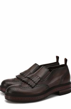 Кожаные ботинки без шнуровки с бахромой Santoni. Цвет: темно-коричневый