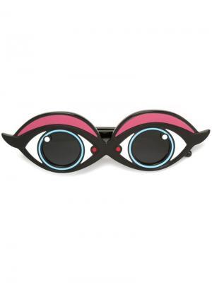 Солнцезащитные очки с оправой в виде глаз Yazbukey. Цвет: синий