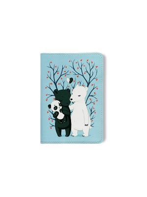 Обложка для паспорта  Семья медведей TonyFox. Цвет: голубой, белый, черный, синий