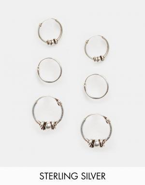 Fashionology Три пары серебряных серег-колец. Цвет: серебряный