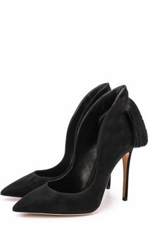 Замшевые туфли Louisa с бахромой Aleksandersiradekian. Цвет: черный