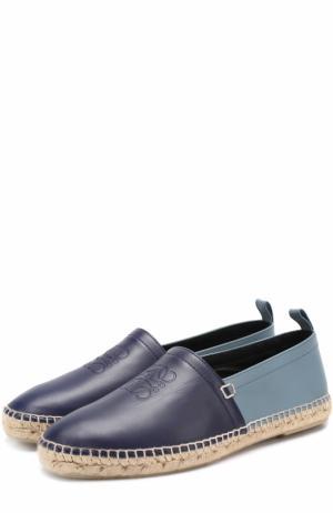 Кожаные эспадрильи на джутовой подошве Loewe. Цвет: темно-синий